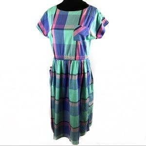 Adorable vintage pastel plaid dress